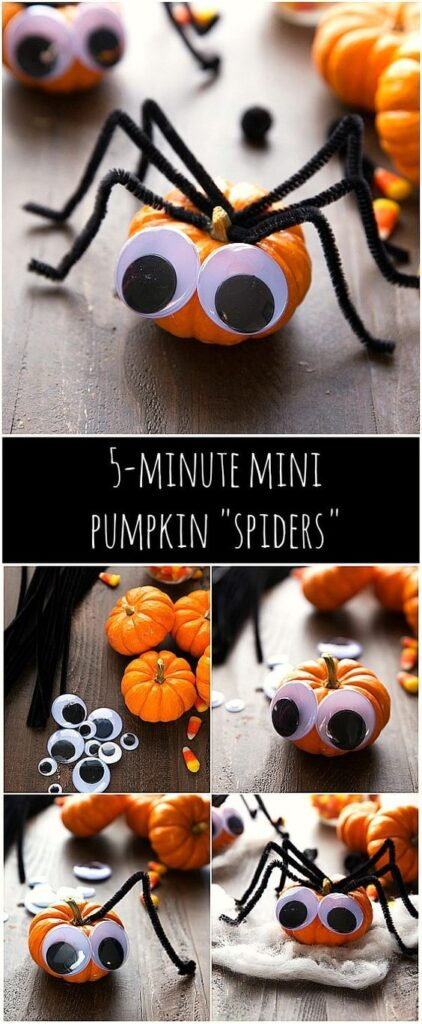 With googly eyes and pipecleaners you can have a spider pumpkin in no-time! Here is a list of more pumpkin decorating ideas that toddlers, preschoolers and kids of all ages can create! #howweelearn #pumpkincarving #pumpkindecorating #jackolantern # halloween #kidsactivities