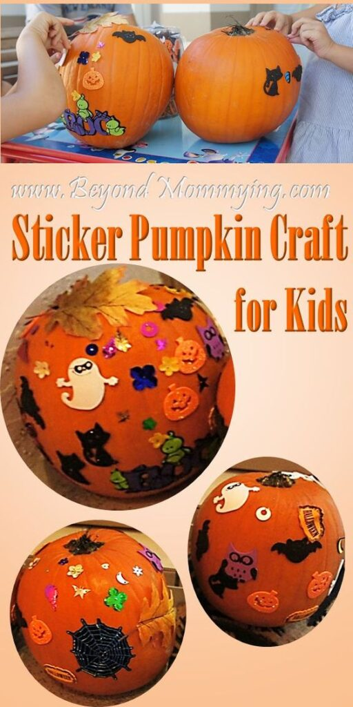 Kids of all ages can decorate with stickers and practice fine motor skills while they are at it. Here is a list of more pumpkin decorating ideas that toddlers, preschoolers and kids of all ages can create! #howweelearn #pumpkincarving #pumpkindecorating #jackolantern # halloween #kidsactivities