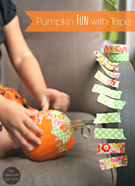 Toddlers and preschoolers will love covering their own pumpkin with different patterns of tape. Here is a list of more pumpkin decorating ideas that toddlers, preschoolers and kids of all ages can create! #howweelearn #pumpkincarving #pumpkindecorating #jackolantern # halloween #kidsactivities