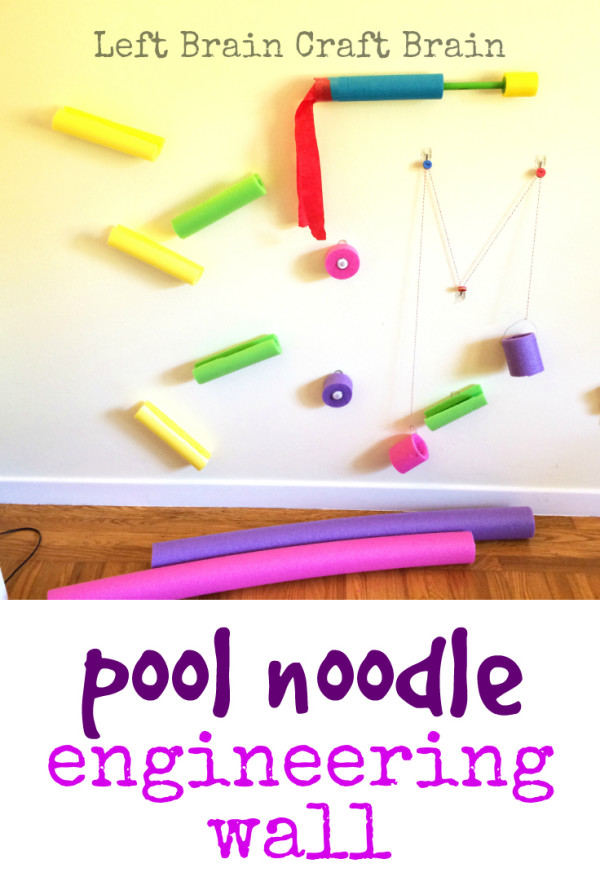 The possibilities for this pool noodle engineering wall are endless! The process is half the fun! STEM and STEAM activities like this one are perfect for engaging children's natural curiosity. Here is a list of rich activities for toddlers, preschoolers and kids of all ages. #howweelearn #stem #steam #scienceforkids #learningactivities
