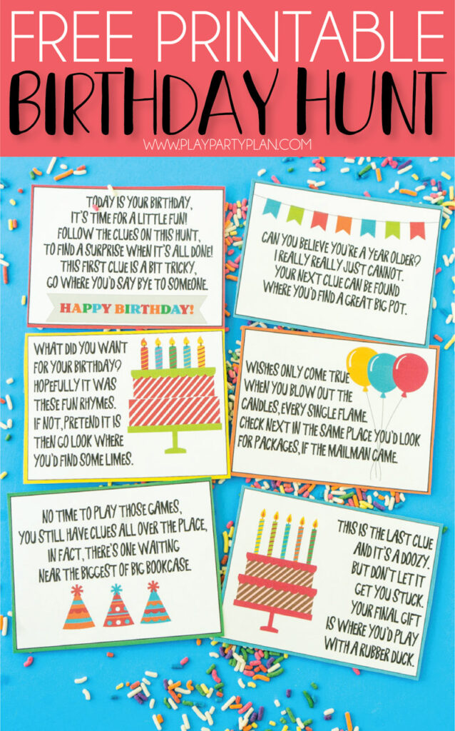 Rhyming riddle scavenger hunts are great for large groups and birthday parties. This printable makes it easy for you to set it up. Not only are these activities thrilling, they keep kids active and encourage collaboration and problem solving.  Check out our massive list of ideas here! #howweelearn #scavengerhunt #kidsactivities #preschoolactivities
