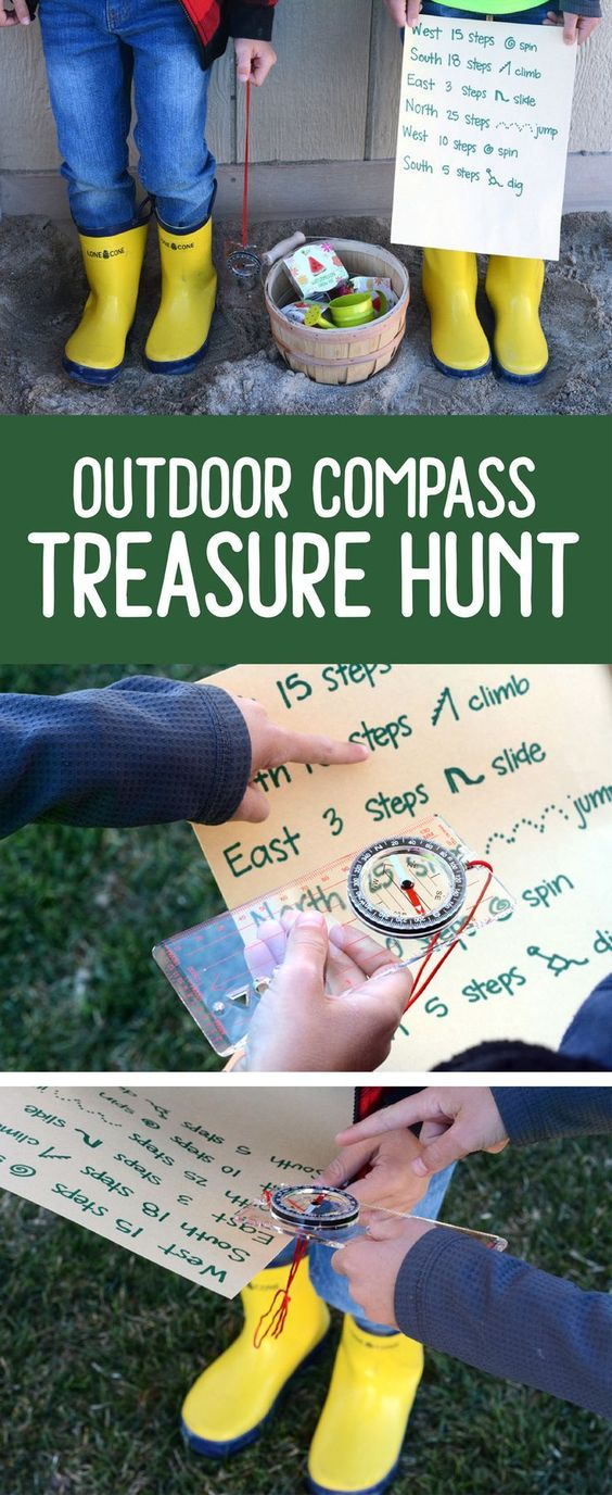 Using a compass on a scavenger hunt really helps your kids practice a new skill in an engaging setting. Not only are these activities thrilling, they keep kids active and encourage collaboration and problem solving.  Check out our massive list of ideas here! #howweelearn #scavengerhunt #kidsactivities #preschoolactivities