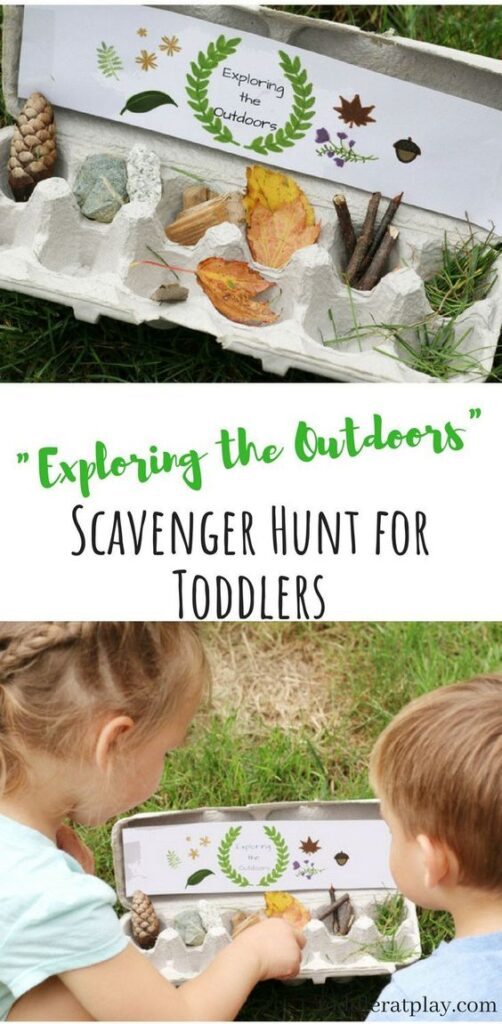 This nature hunt is the perfect way to introduce your toddler or preschooler to scavenger hunts. Not only are these activities thrilling, they keep kids active and encourage collaboration and problem solving.  Check out our massive list of ideas here! #howweelearn #scavengerhunt #kidsactivities #preschoolactivities