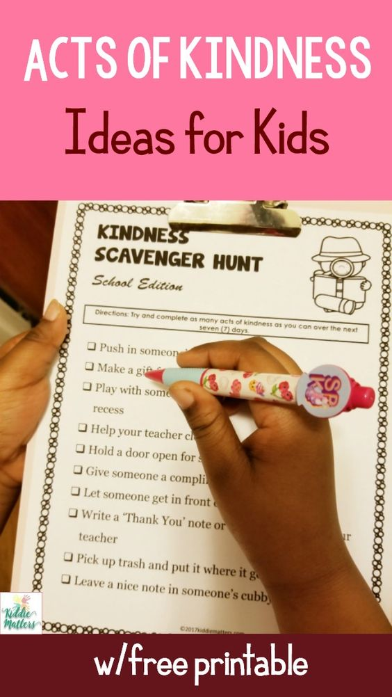"This kindness scavenger hunt is a wonderful way to encourage your class or your children to ""look for"" opportunities to be kind to others. What a creative idea! Great for Thanksgiving, Christmas or Lent. Not only are these activities thrilling, they keep kids active and encourage collaboration and problem solving.  Check out our massive list of ideas here! #howweelearn #scavengerhunt #kidsactivities #preschoolactivities"