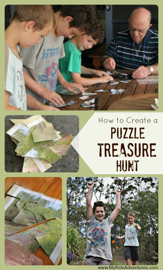Building a puzzle as a team or family is a great way to practice collaboration. Kids of all ages can participate in a search for puzzle pieces as part of a scavenger hunt! Not only are these activities thrilling, they keep kids active and encourage collaboration and problem solving.  Check out our massive list of ideas here! #howweelearn #scavengerhunt #kidsactivities #preschoolactivities