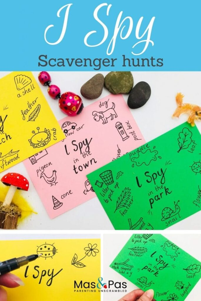 These scavenger hunt cards are great for kids of all ages. Print these or make your own and take them on the go! Not only are these activities thrilling, they keep kids active and encourage collaboration and problem solving.  Check out our massive list of ideas here! #howweelearn #scavengerhunt #kidsactivities #preschoolactivities