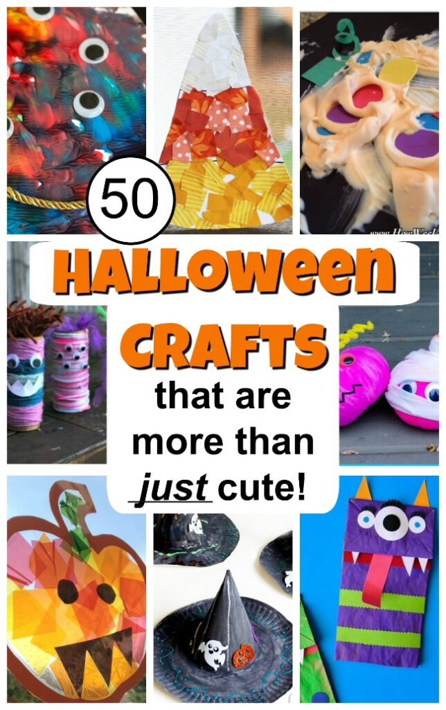 These Halloween crafts for kids are more than JUST cute! Meaningful process art with a Halloween twist, perfect art projects for toddlers and preschoolers. #howweelearn #halloweencrafts #toddlercrafts #preschoolcrafts #craftsforkids