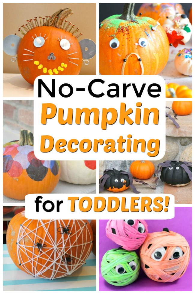 These are perfect NO-CARVE pumpkin decorating ideas that let toddlers and preschoolers get in on the Halloween fun! Great pumpkin crafts for kids. #howweelearn #pumpkindecorating #toddlercrafts #halloweencrafts #jackolantern #pumpkinideas #toddleractivities