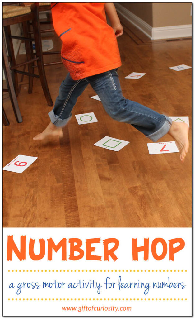 Develop those gross motor skills and have them hopping for numbers! Here you will find more play-based number activities for preschoolers to keep them practicing their counting, number recognition and one-to-one correspondence. #howweelearn #numbers #numbersense #numeracy #counting