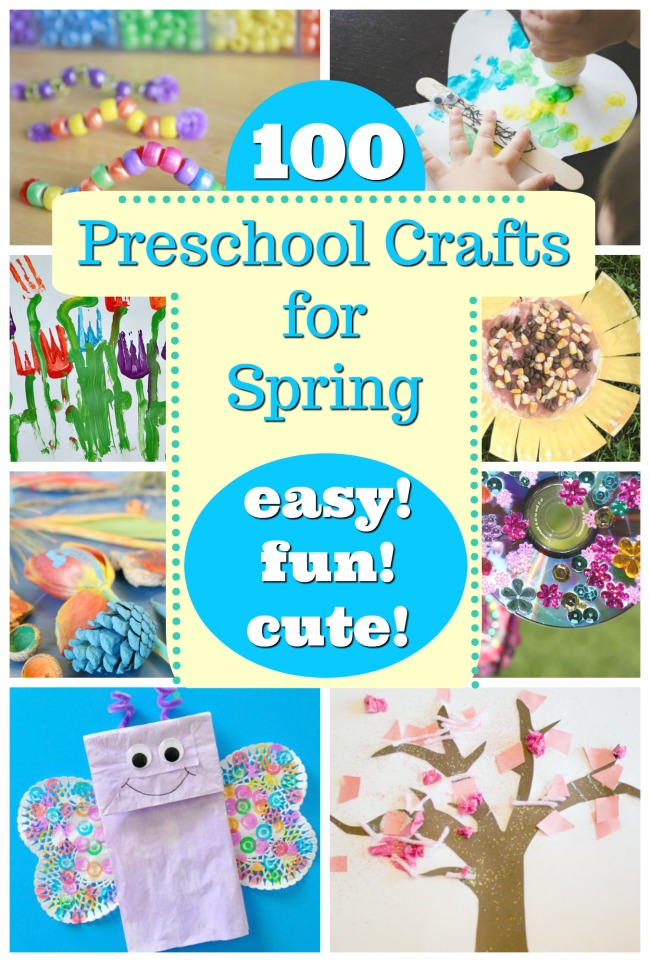 A collage sample of some of our 100 preschool crafts for spring.