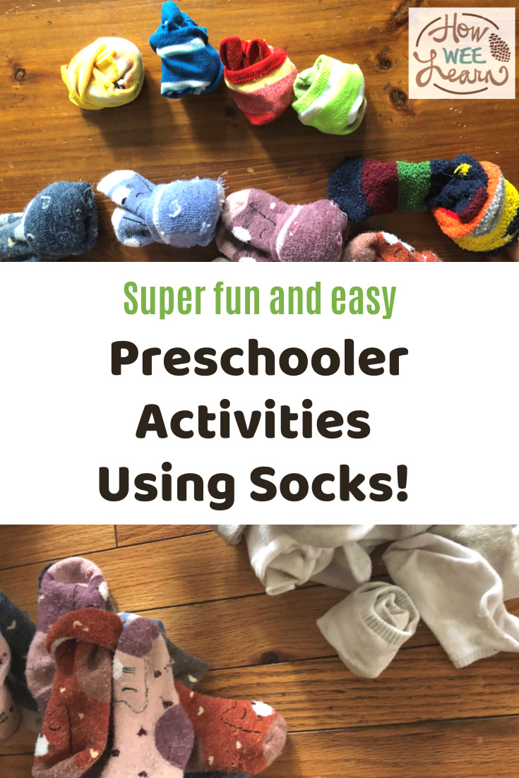 These preschool activities using socks are so simple but so fun. The kids loved playing the games and didn't even realize they were learning!
