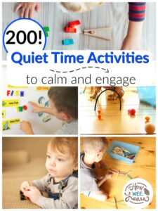 collage of lots of different quiet time activities for kids