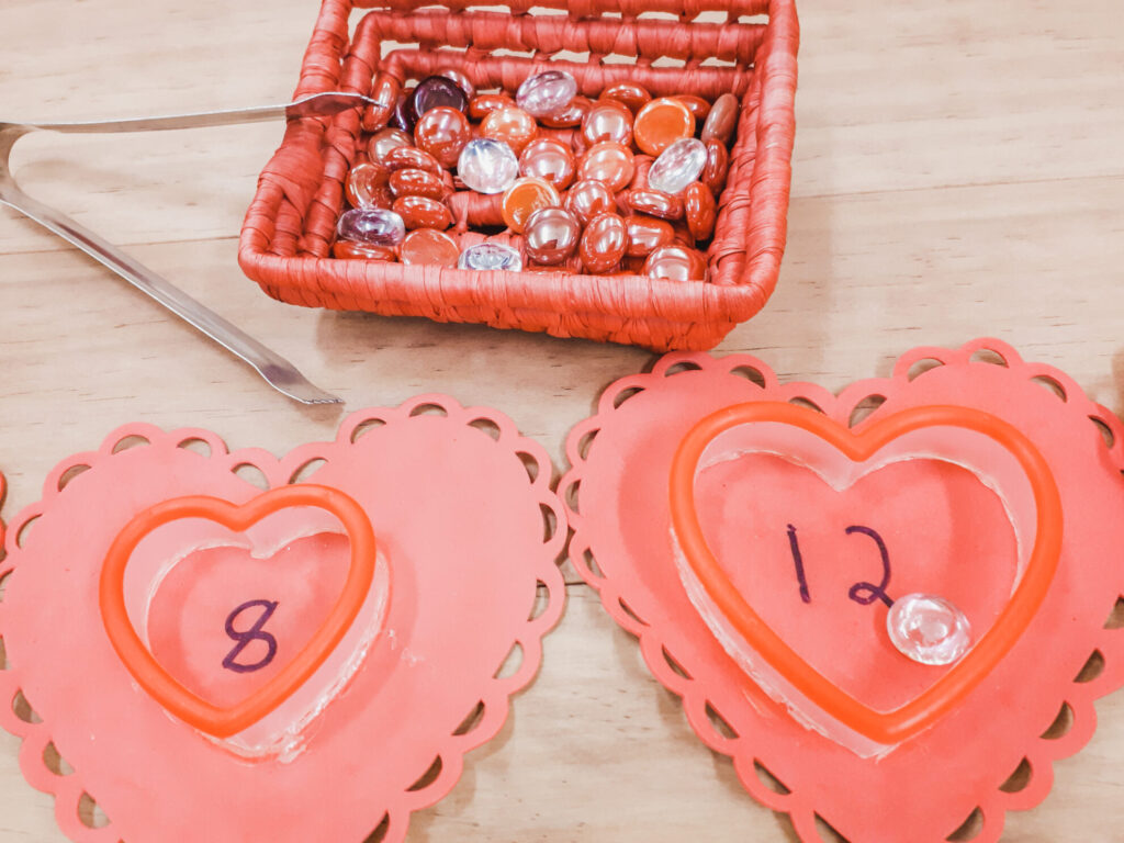 February preschool classroom ideas - counting with jewels