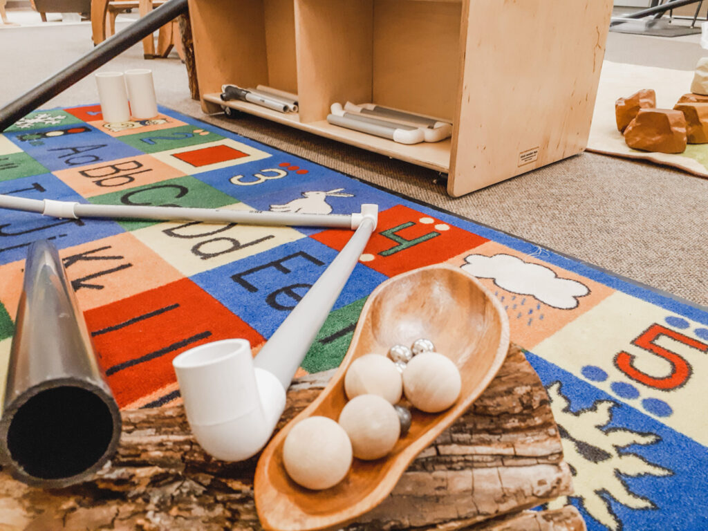 Tubes and connectors in the preschool classroom for some loose parts play