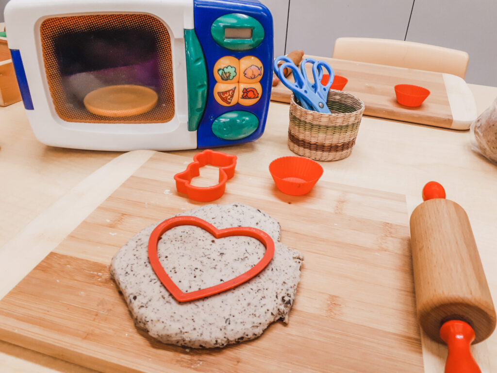 coffee playdough pretend play in the preschool classroom