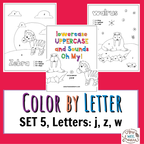Free Printable Color By Letter Worksheets, Set 5, Letters: J, Z, W - How  Wee Learn