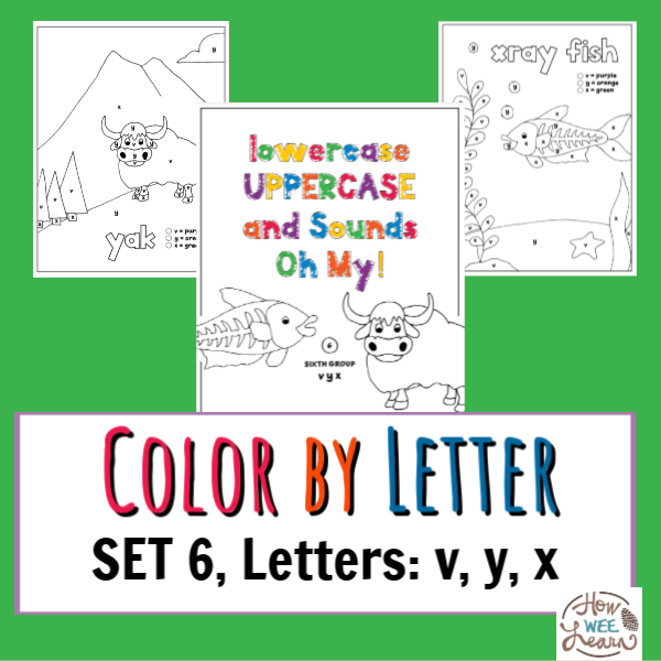 Worksheets For Kindergarten And Preschool - Color By Letter Coloring Pages  Set 6, Letters V, Y, X - How Wee Learn