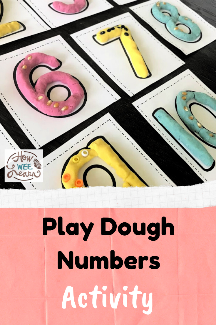 So good for helping kids learn all about numbers and a great sensory activity too! Love this play dough numbers activity.
