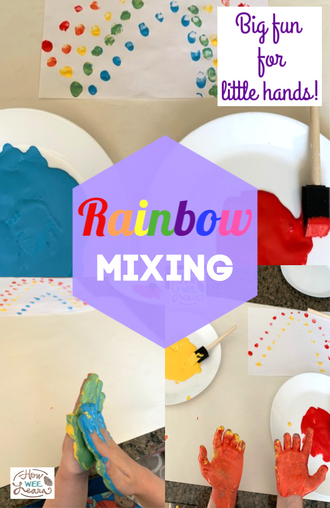 This is such a fun color mixing activity! It combines science and a bit of mess - perfect for kids! Plus some fine motor skills. The kids loved making rainbows with their hands!