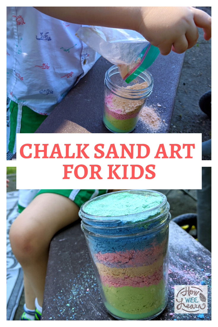This sand art project for kids is such a fun and simple outdoor activities, using materials we already have! Also a perfect craft for a camping or cottage trip.