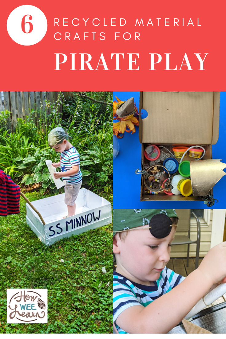 Love all these recycled material crafts for pirate play. This were so much fun to make & the kids loved playing pirates!