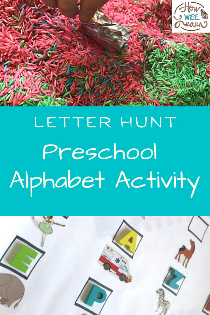 A great sensory bin and literacy activity for children. This is the perfect preschool alphabet activity and my little one loved it!