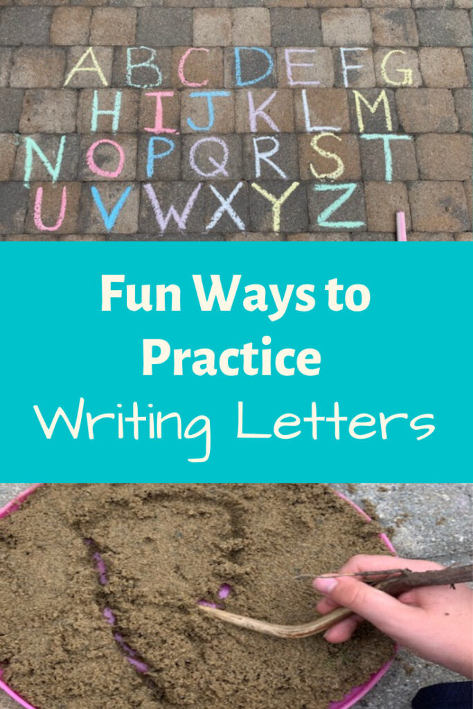 Simple and fun outdoor actives to practice writing letters. Great activity for preschoolers!