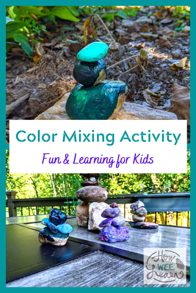 Such a fun color mixing activity for kids! They can learn all about tints, hues & shades as well as balancing & fine motor.