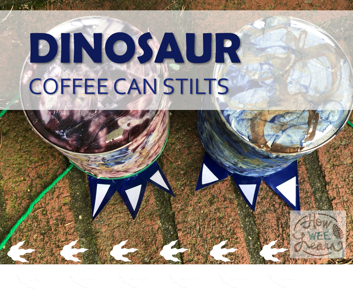 Dinosaur coffee can stilts were so much fun for the kids to make and use! It's the perfect kindergarten homeschool project