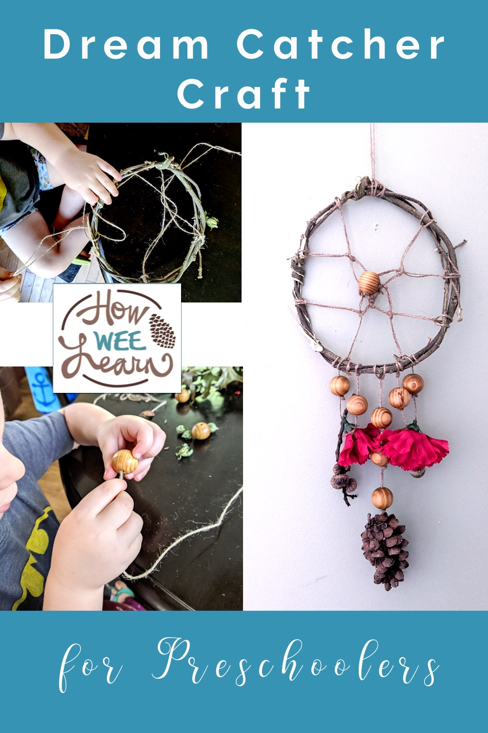 This dream catcher craft for preschoolers is so great for practicing fine motor skills, calming down kidsand creating calmer nights.
