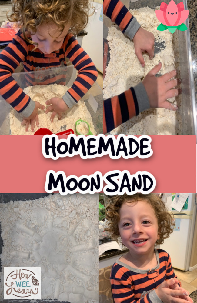 This homemade moon sand is the perfect mix of fun and mindfulness for kids. Such a great way to slow down and play while incorporating relaxation and space!