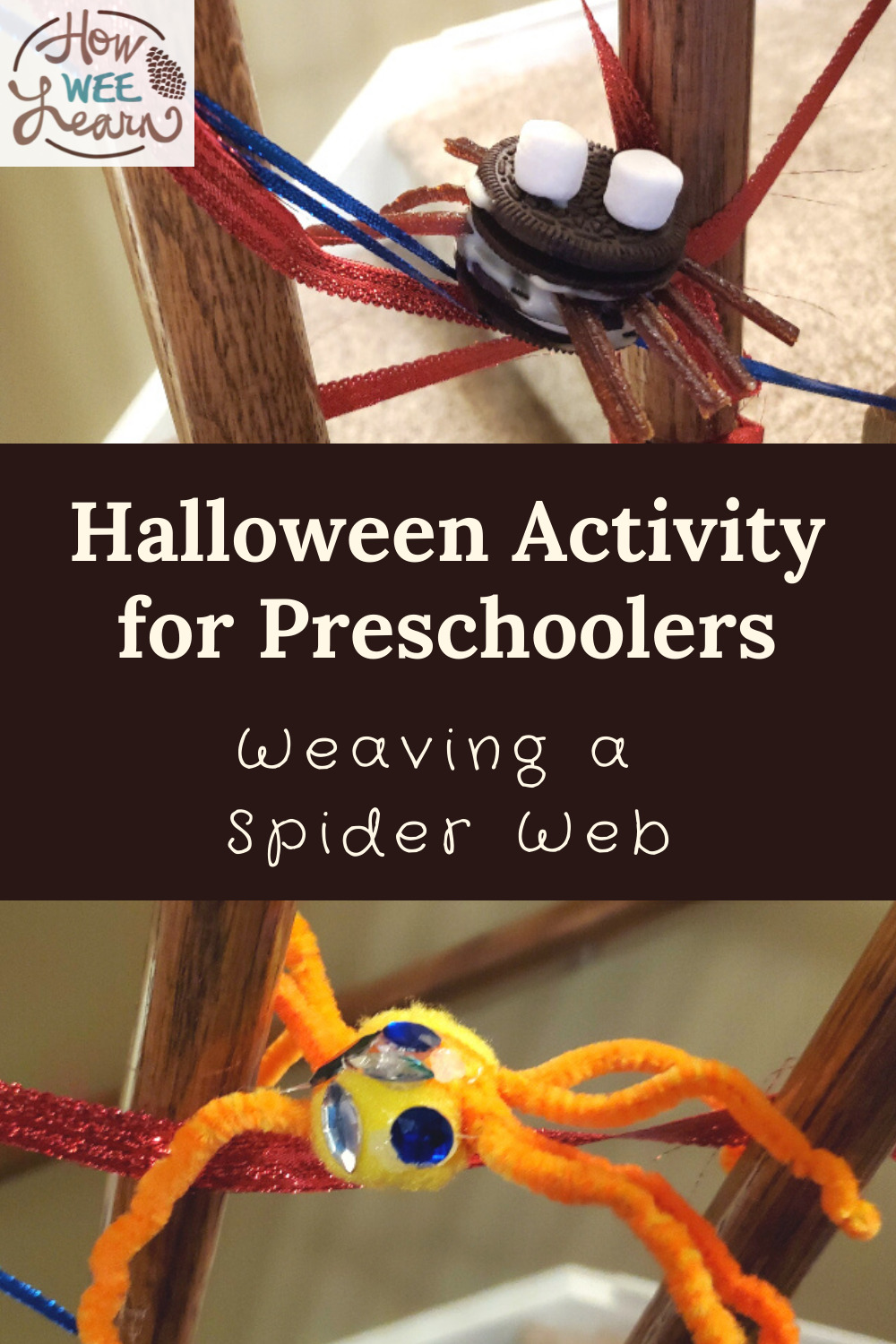 Weaving a spider web is the perfect halloween activity for preschoolers. Fine motor, shapes and creativity!
