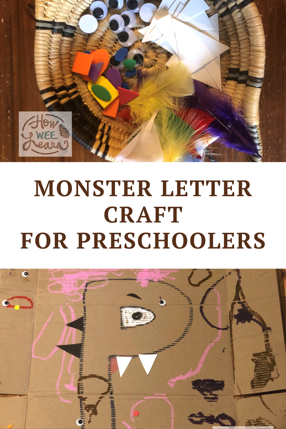This monster craft for preschoolers is such a fun Halloween craft! Love that it combines learning letters with silly fun and art.