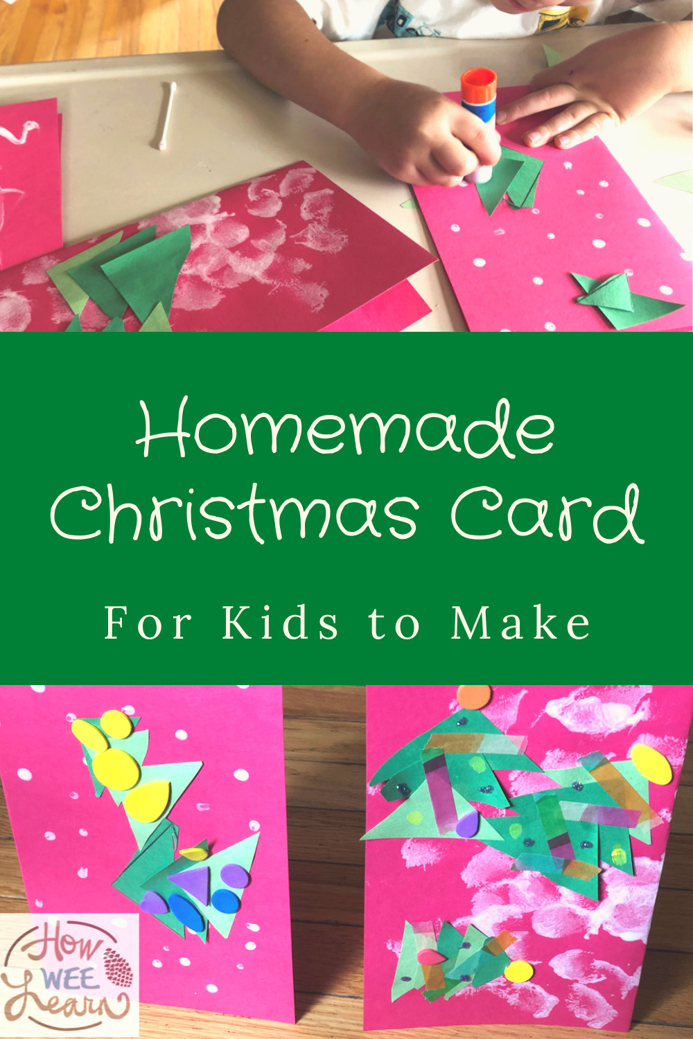 This is a beautiful Homemade Christmas Card for Kids to Make. The kids had so much fun making it!