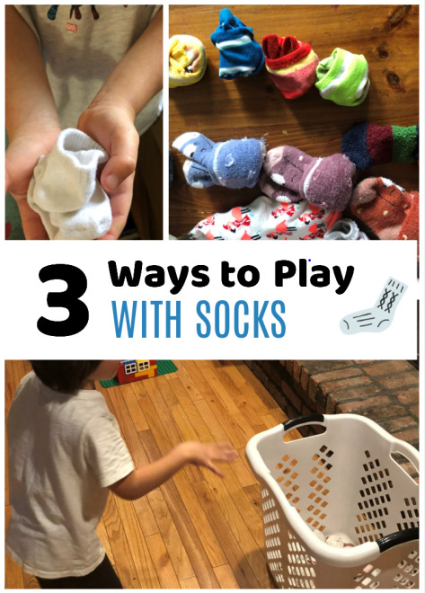 These preschooler activities using socks are so simple but so fun. The kids loved playing the games and didn't even realize they were learning!