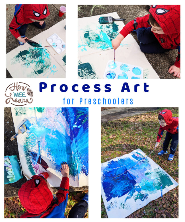 This process art for preschoolers project got my little one outside painting for 2 whole hours! Such fun, creative, inhibited play time