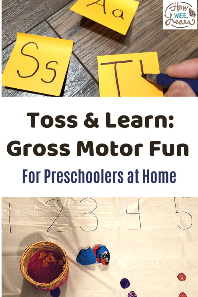 There are so many fun variations to this great gross motor activity for preschoolers at home. Kids of all ages can play, too!
