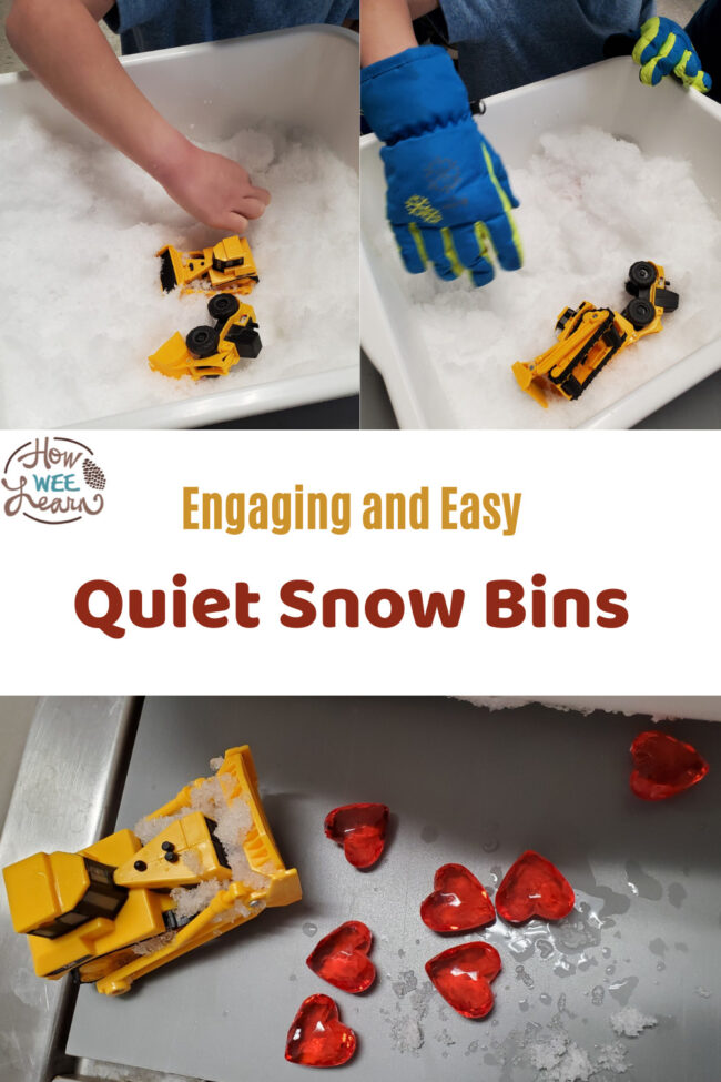 There are so many good Winter sensory bin ideas in here. The kids love playing with snow and materials for these quiet snow bins