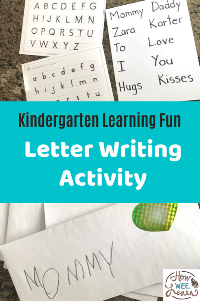 My little one had so much fun with this letter writing activity for kindergarten. Creating letters for people he loved was also an excellent quiet time activity.