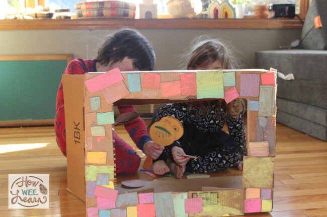 This cardboard puppet theater is the perfect mix of family fun time and independent activity. The kids loved creating it during quiet time