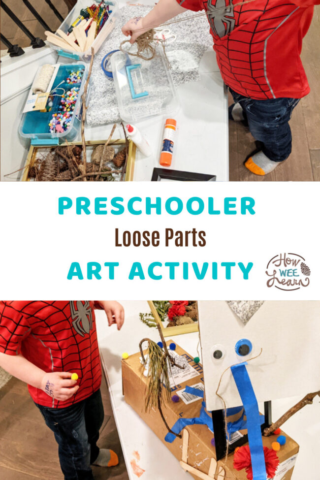 This Loose Parts Art Activity For Preschoolers is the perfect unguided process art exercise, and also great for quiet time for preschoolers.
