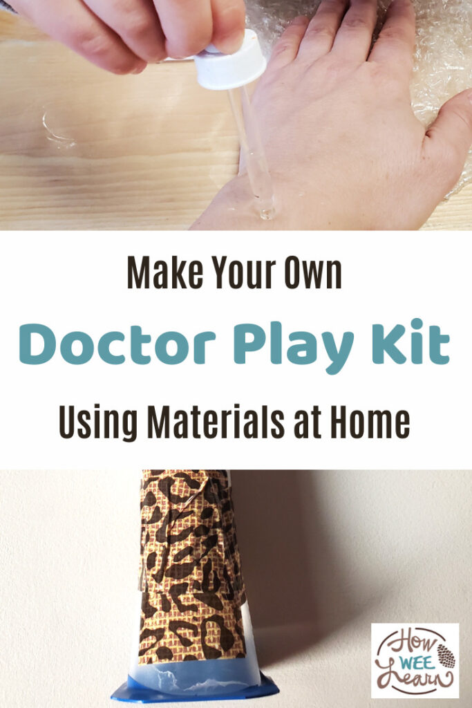Make your own pretend doctor play kit from materials found at home. Pretend doctor play is so important and fun for kids!