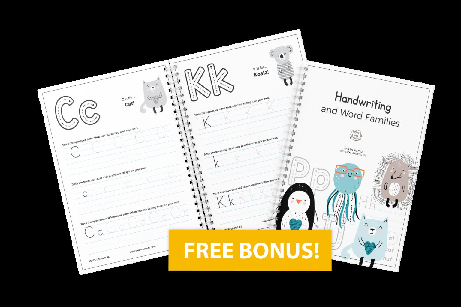 Handwriting and Word Families Free Bonus
