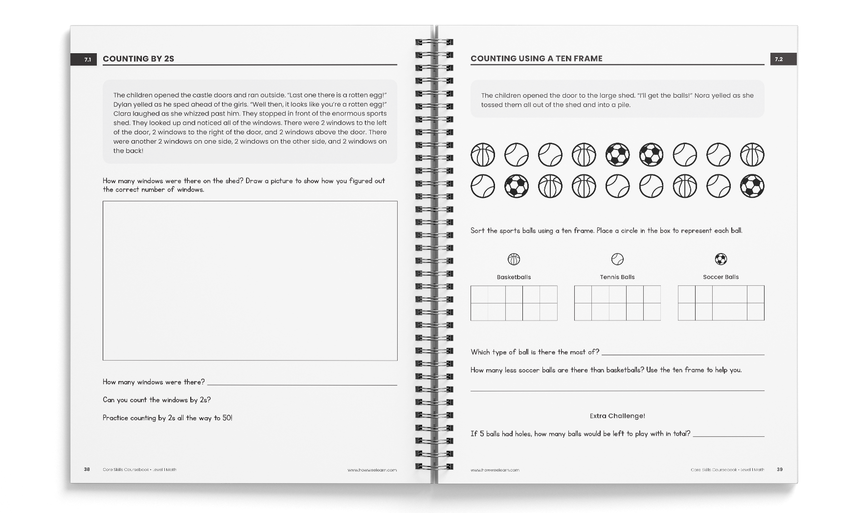 Sample from Level One Math Core Skills Coursebook
