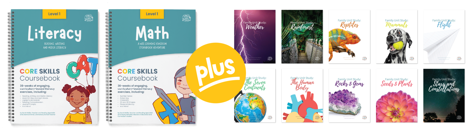 Cover Pages of Core Skills Coursebooks and 10 Family Unit Studies Bundle