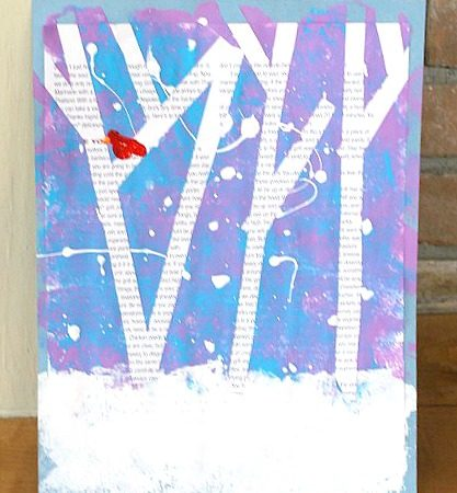 Tape resist magazine art. Such a pretty winter art project for kids